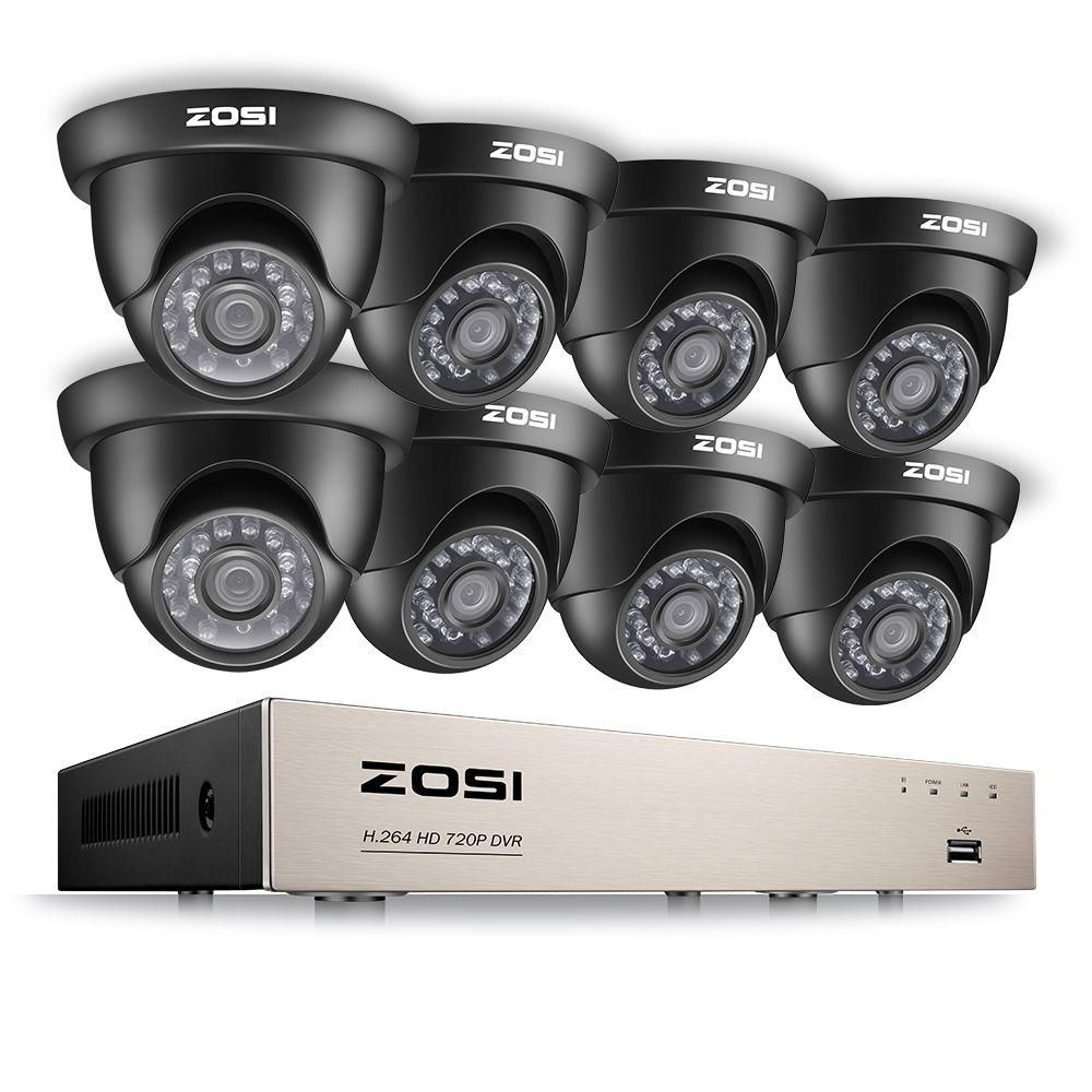 Zosi 8 Channel 720p Dvr Security Camera System With 8 Wired Dome Cameras 8zn 418b8 00 Us The Home Depot Outdoor Security Camera Security Cameras For Home Wireless Home Security Systems