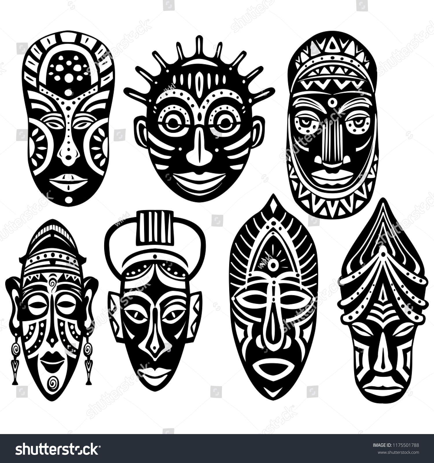 Set of Tribal African Masks   Dibujos tribales, Mascaras
