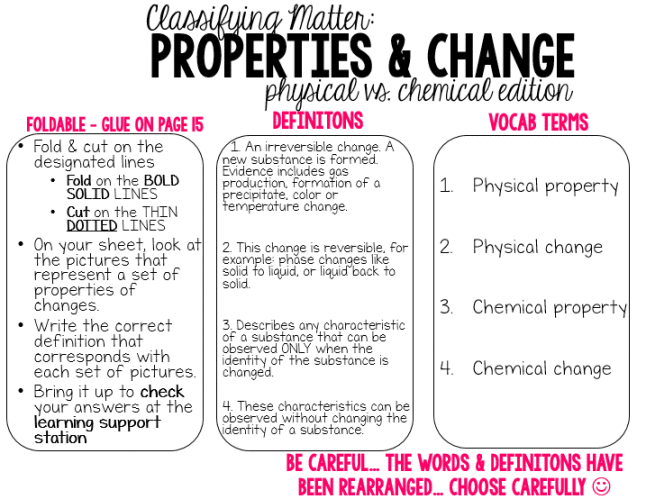 Synthesis Physical Vs Chemical Properties Changes Foldables