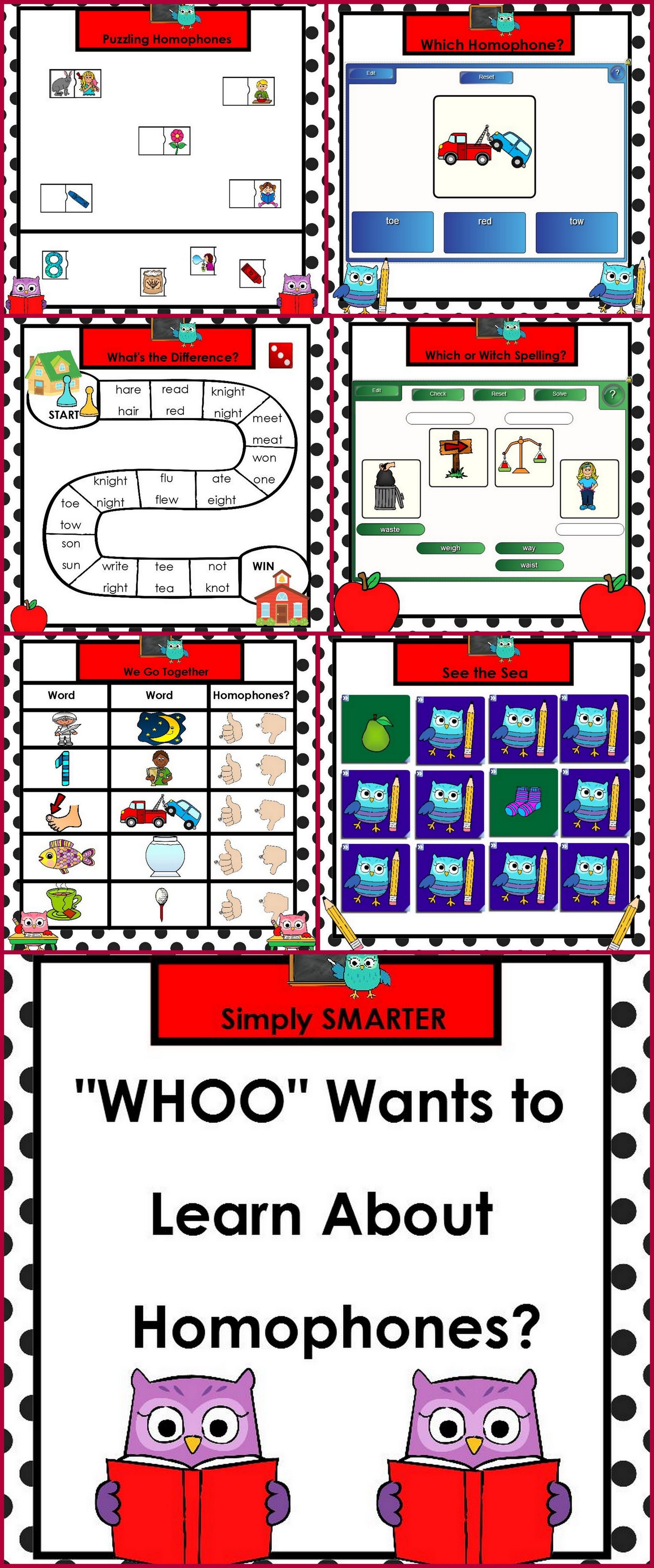 Whoo Wants To Learn About Homophones Smartboard