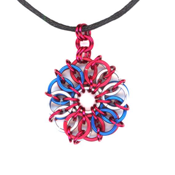 Patriotic Red Blue Silver Chainmaille as a Pendant by Lehane, $13.99