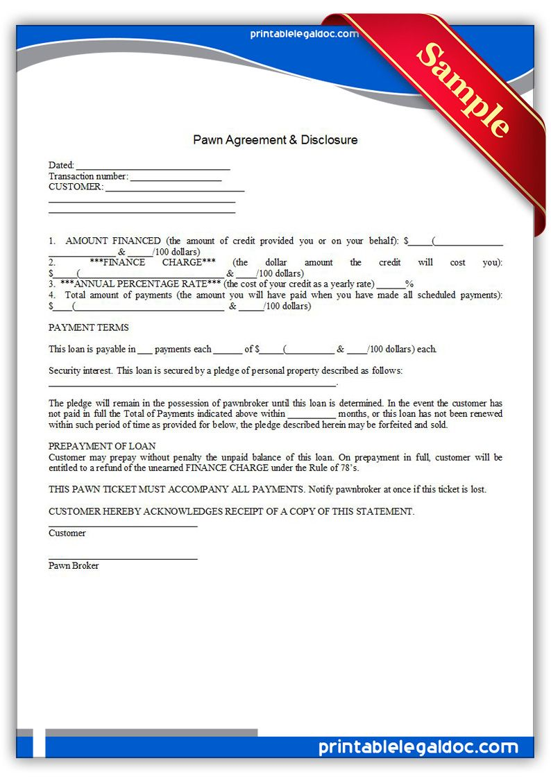 Free Printable Pawn Agreement  Disclosure Legal Forms  Free