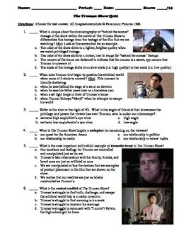 The Truman Show Film 1998 15 Question Multiple Choice Quiz Thi Or That Critical Thinking Questions Essay Hsc