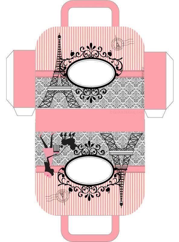 Paris Themed Free Printable Gift Box Bag Paris Crafts