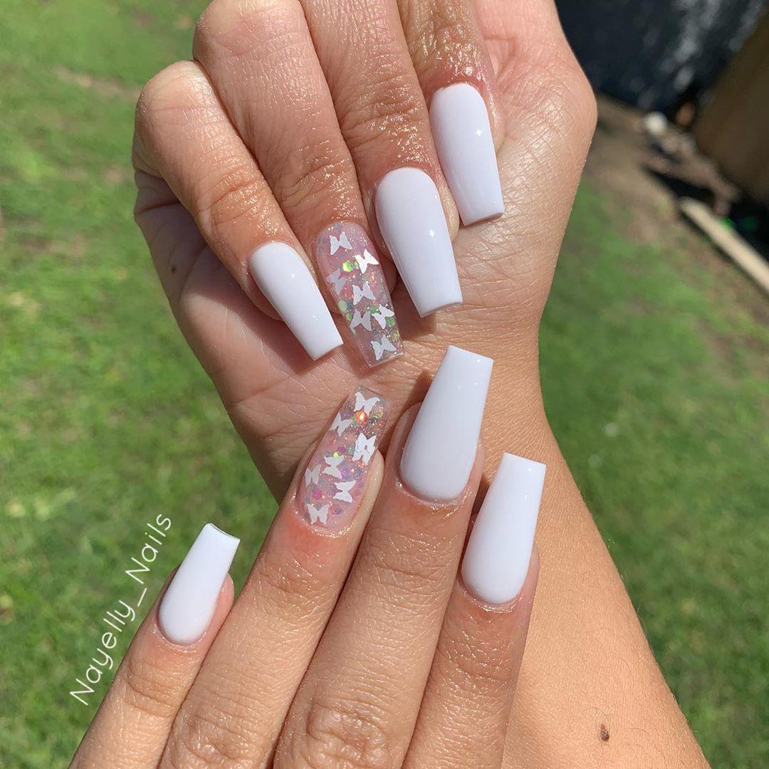 Nayelly Nails On Instagram Crisp White Butterfly Set Using Valentinobeautypure Super Best Acrylic Nails Pretty Acrylic Nails Cute Acrylic Nail Designs