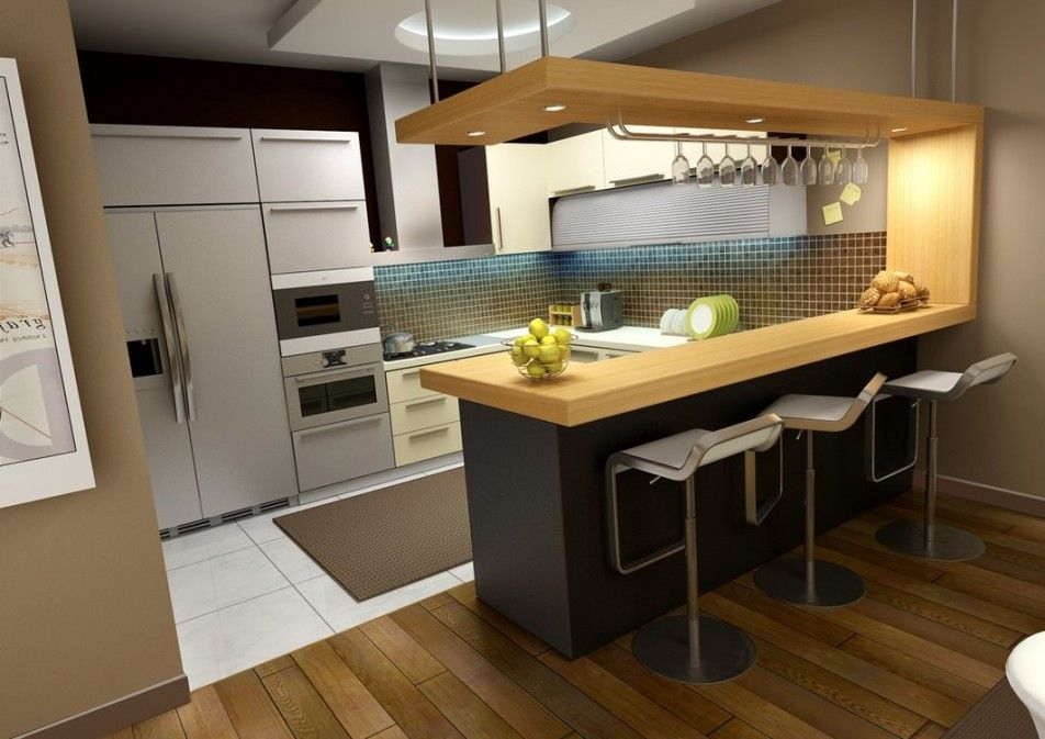 [Kitchen] : Modern Kitchen Ideas With Wooden Plus Ceramic Flooring Along With Three Stainless Steel Bar Stools Also Electric Side By Side Door Refrigerator
