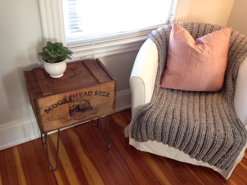 Moosehead Beer Crate Side Table With Hairpin Legs