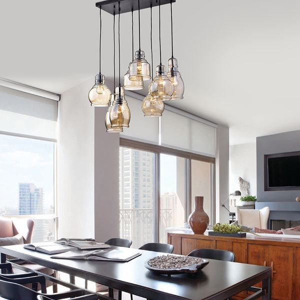 Mariana Light Cognac Glass Cluster Pendant In Antique Black Finish - Kitchen chandeliers and pendants