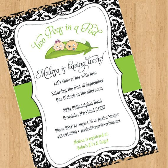 peas in a pod  baby shower invitation  digital design only, Baby shower