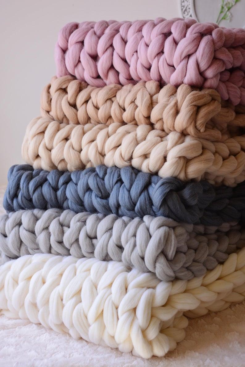 CHUNKY KNIT BLANKET, 100% Merino Wool Blanket, Arm Knit Blanket, Chunky Blanket, Christmas Gifts, Giant Blanket, Chunky Wool Blanket, Throw