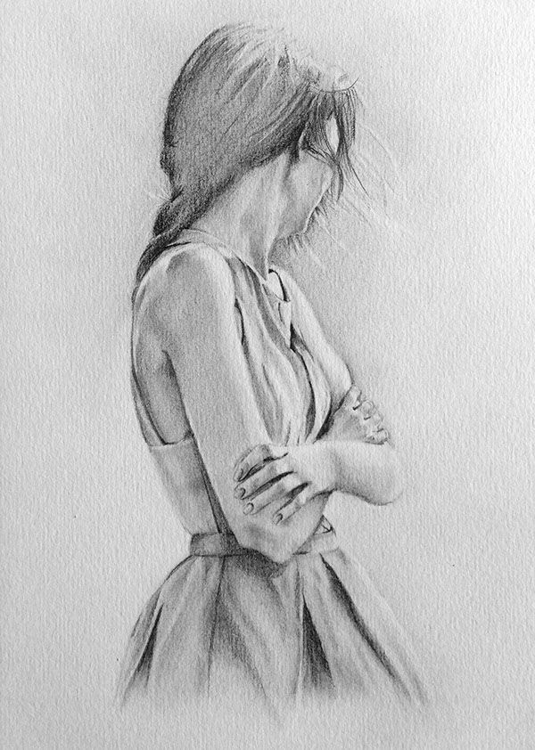 Pencil Sketches Alone Girl