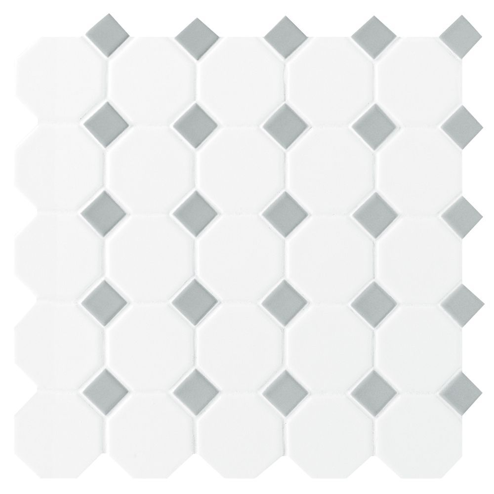 Octagon Dot Matte White Grey 12 Inch X 12 Inch X 13 Mm Ceramic Mosaic Tile 10 Sq Ft Case Patterned Floor Tiles Octagon Tile Daltile