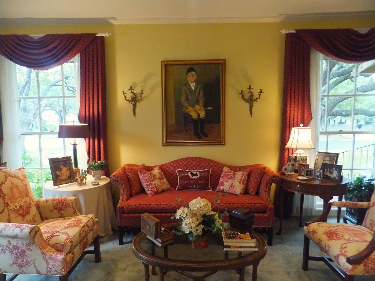 Yellow And Burgundy Living Room