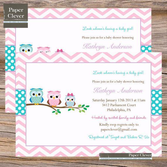 girls baby shower invitation owls chevron stripe pink aqua u0026 purple printable digital file