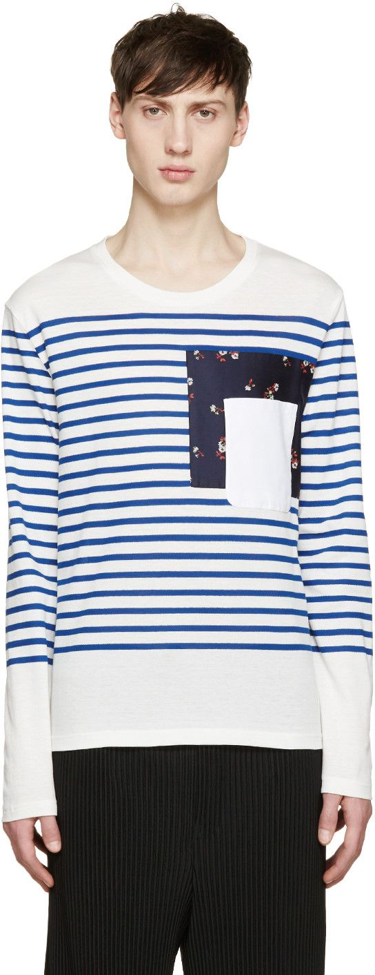 Alexander McQueen White & Blue Breton Stripe T-Shirt