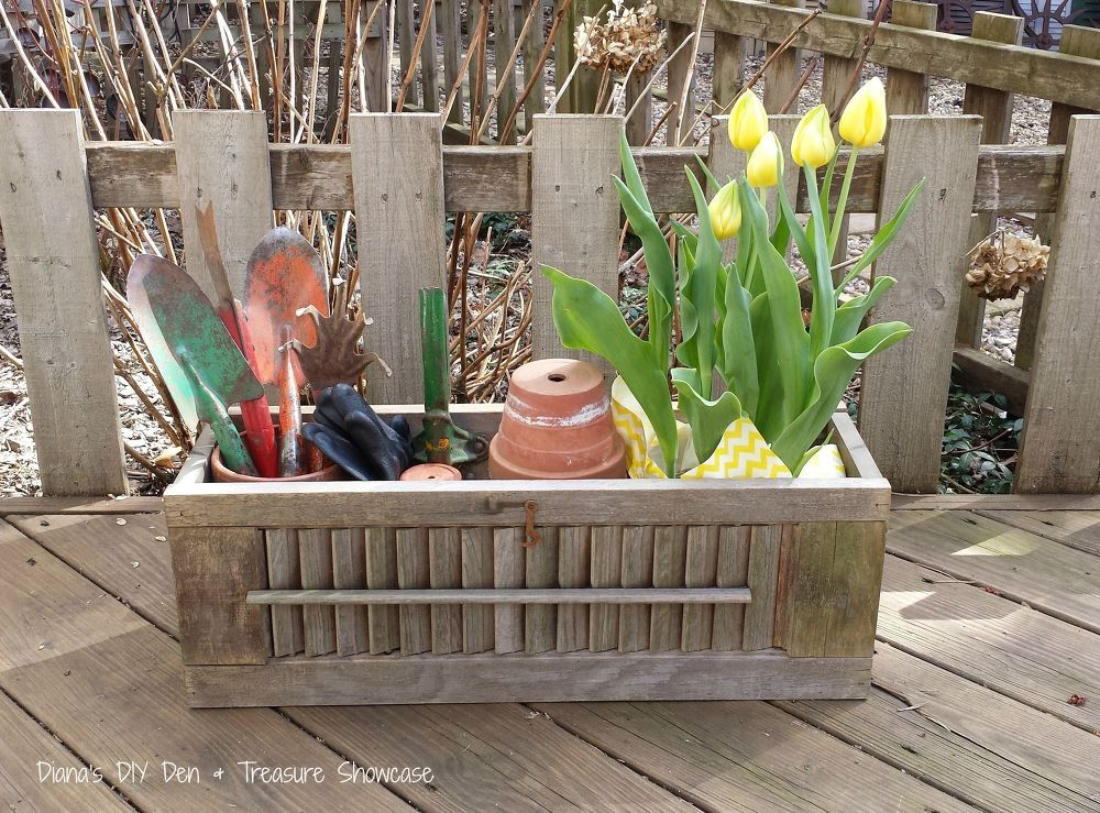 Repurposed Shutter Box Planters