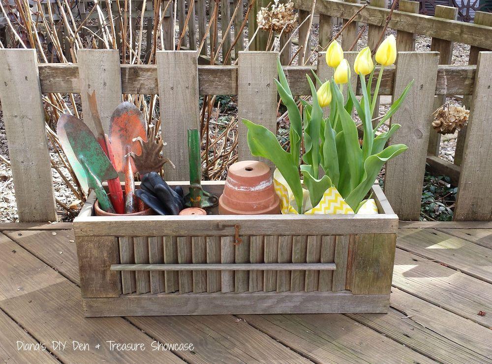 Repurposed Shutter Box Planters