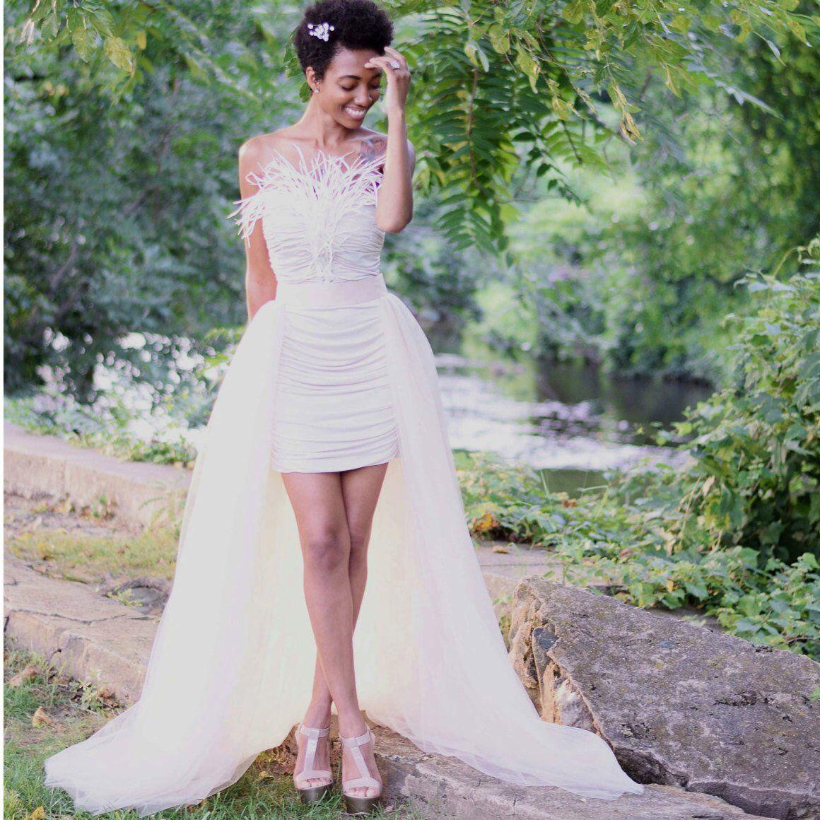 Champagne Tulle Overskirt detachable wedding skirt