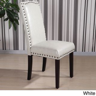 Castillian Collection Faux Leather Nailhead Trim Parson Chair (Set Of 2) |  Overstock.com Shopping   The Best Deals On Dining Chairs