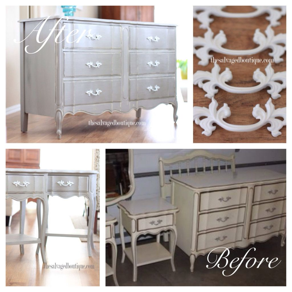 Custom painted french provincial bedroom set before - Painted french provincial bedroom furniture ...