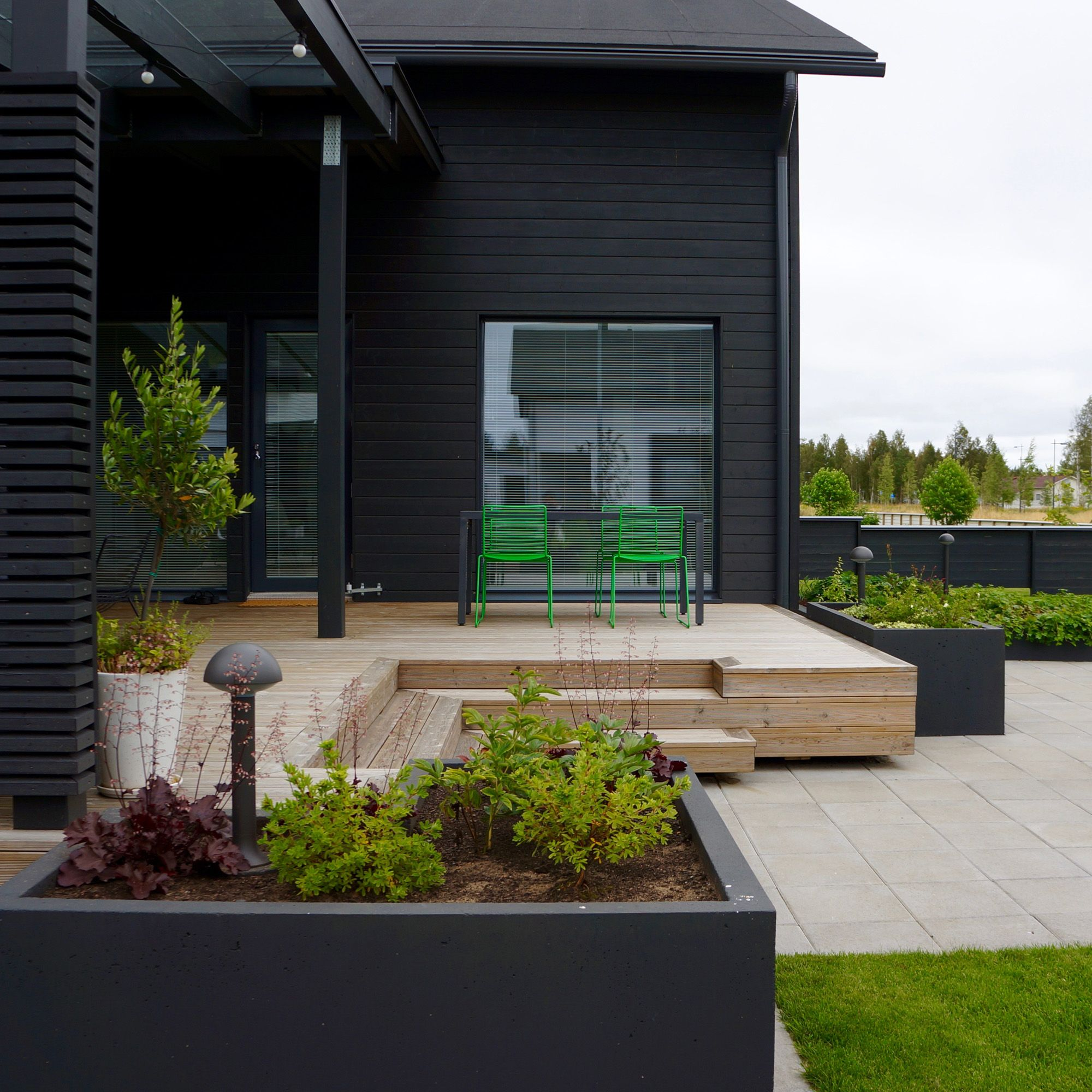 Outdoor Living Area Scandinavian Nordic Garden Design Designed By Green Idea Pihasuunnittelu Moderni Puutarha Terassi Puutarha
