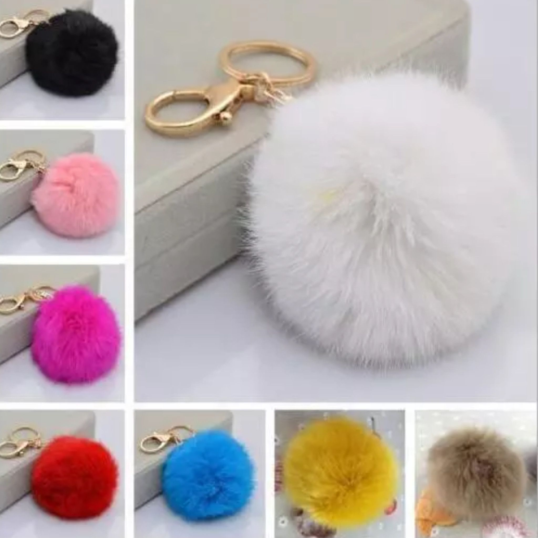 Women/'s Accessories Rabbit Fur Ball Pom Cell Phone Car Pendant Handbag Key-ring