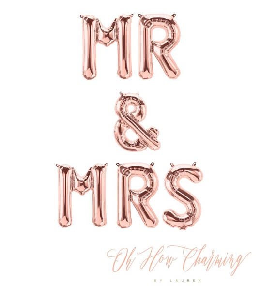 Mr  Mrs Rose Gold Letter Balloons Mr And Mrs Banner Rose Gold