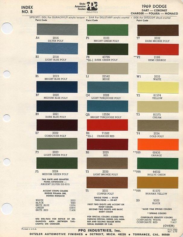 1969 Dodge Paint Chips Codes 1968 Dodge Dart Paint Charts Car Colors