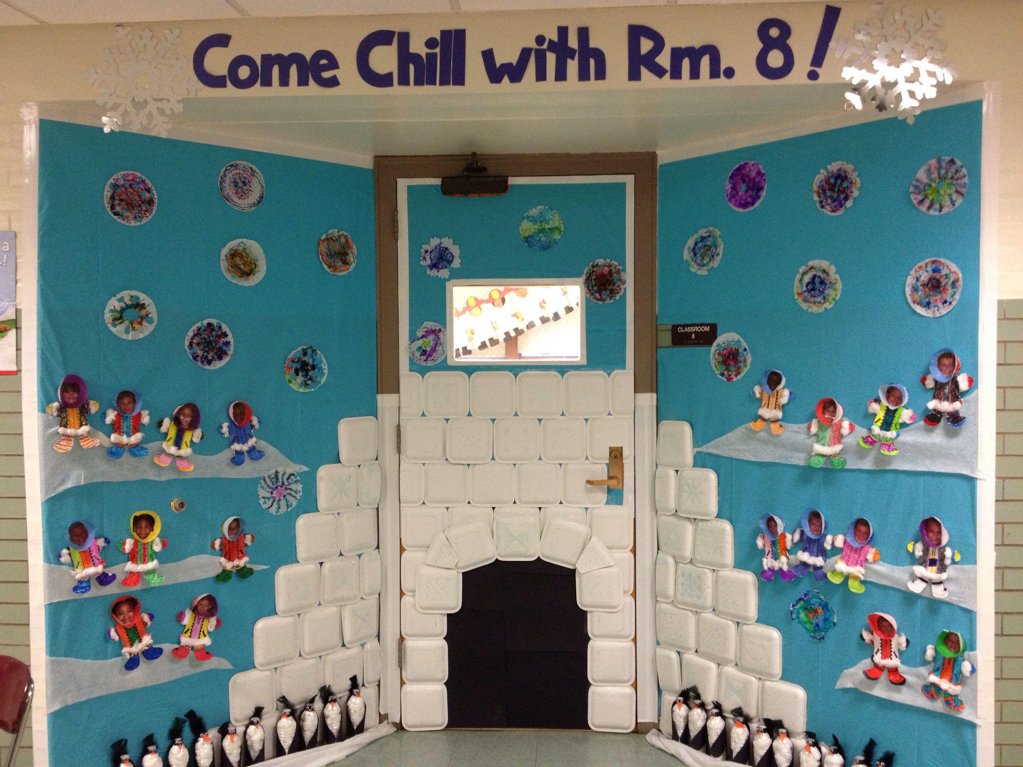Winter door decorating igloo eskimos penguin craft for Idea door primary