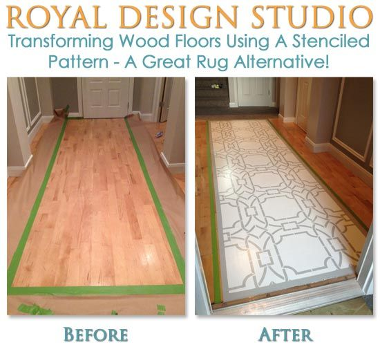 before and after - transform wood floors using a stenciled pattern