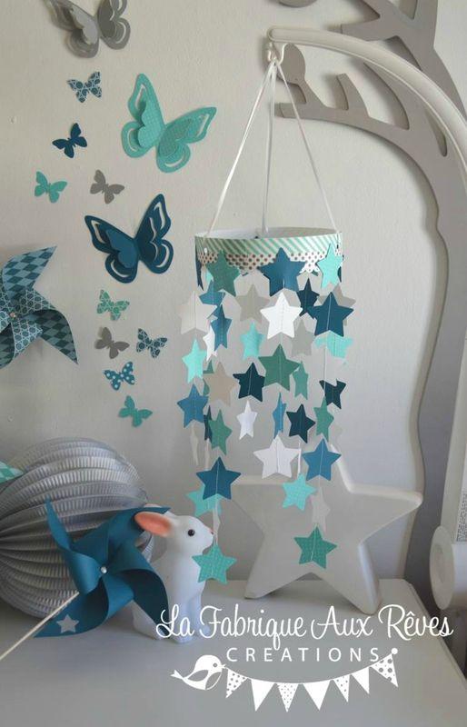 mobile étoiles bébé garçon turquoise caraïbe pétrole blanc bleu canard
