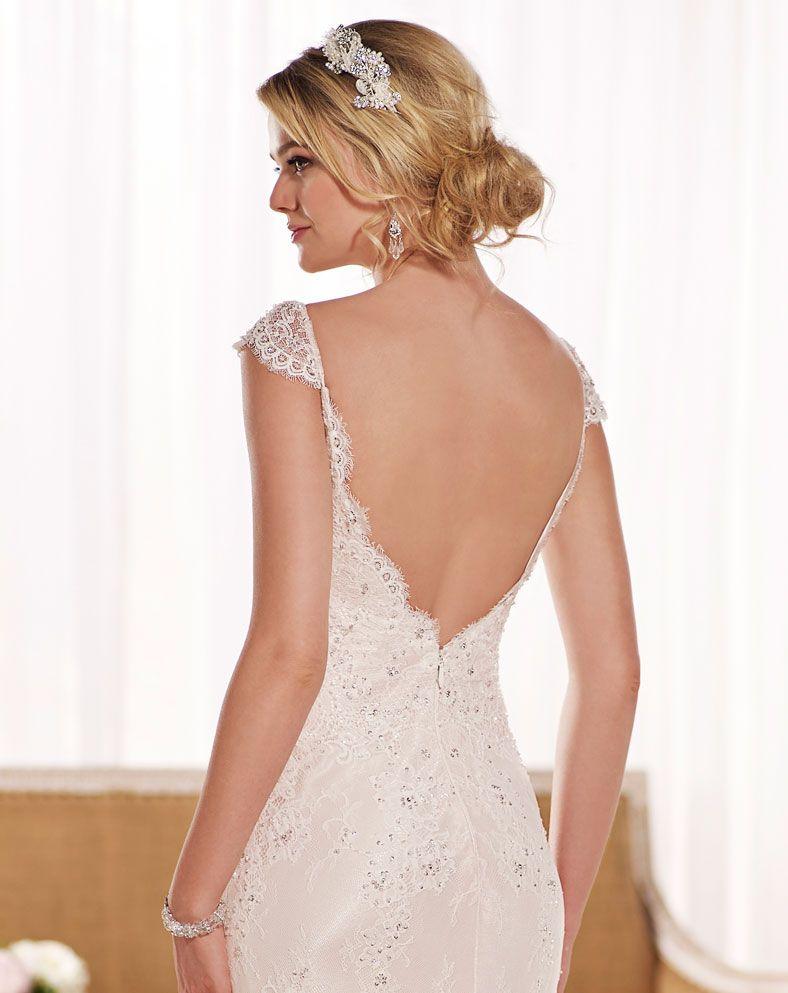 Vintage Lace Sheath Bridal Gown Wedding Dress By Essense Of - Essense Wedding Dress