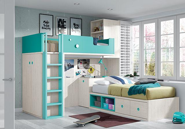 Lit superposé pour chambre enfant avec bureau amovible design