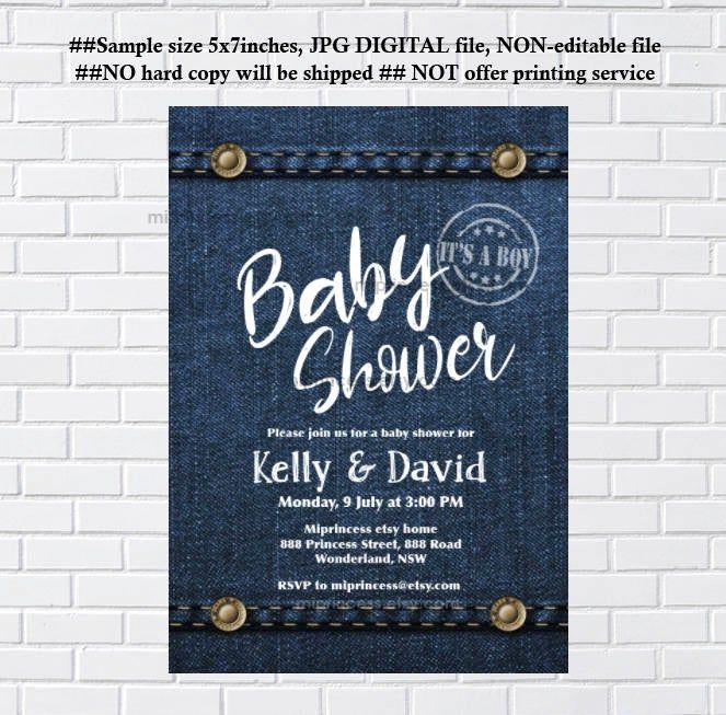 Denim Baby Shower Invitation Or Bridal Shower Denim Party