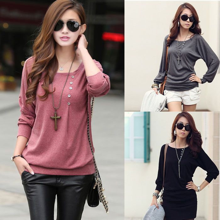 Casual Batwing Basic Blouse