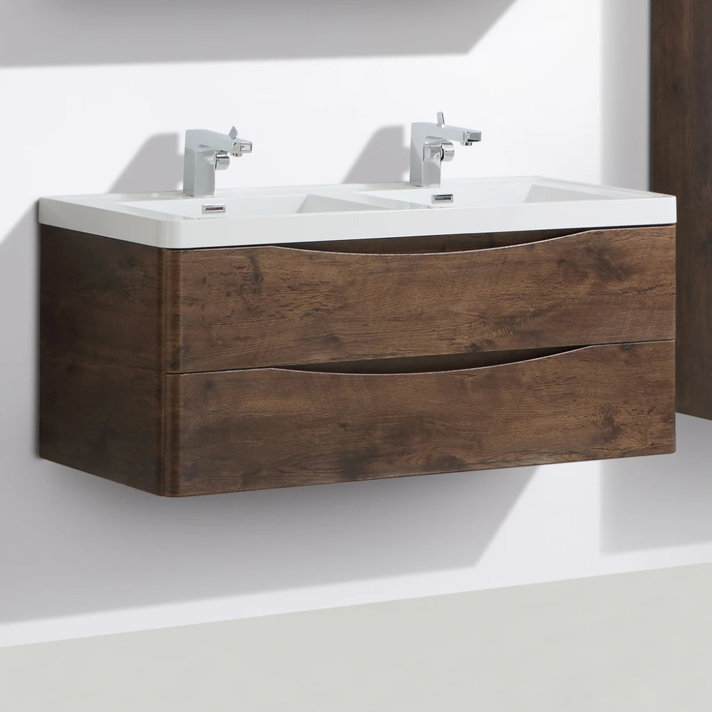 Smile Double Single Basin Wall Hung Vanity 1200mm In 2020 Wall Hung Vanity Vanity Single Basin