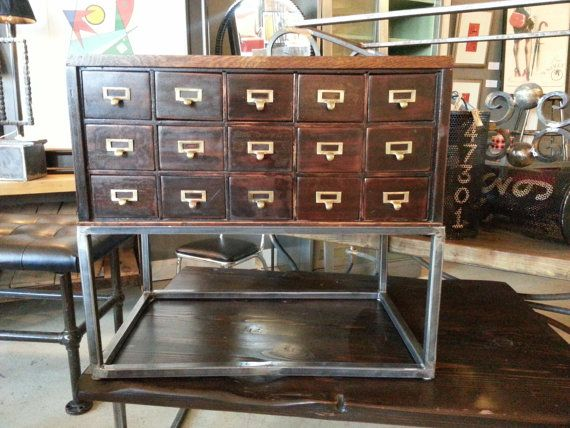 Vintage Card Catalog Sofa Table With Storage by StateStreetSalvage, $1200.00