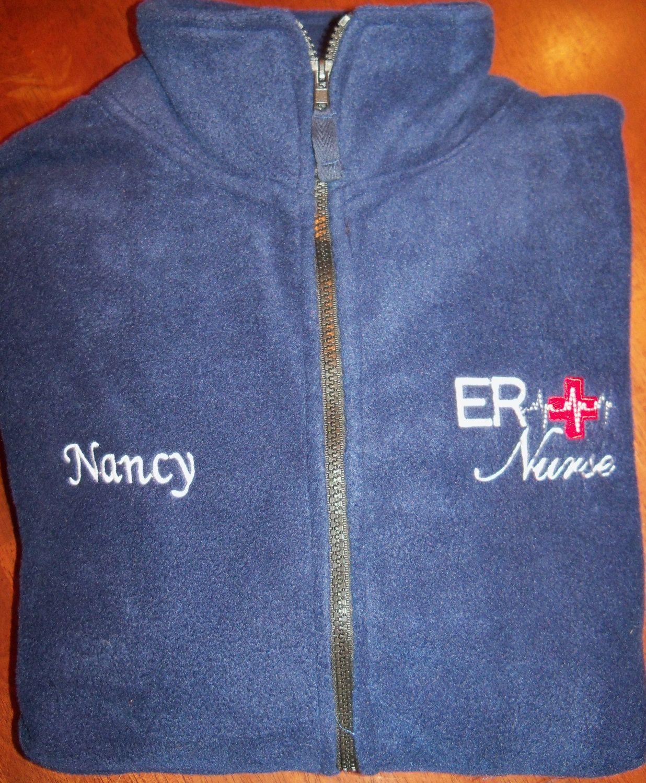 ER Nurse Fleece Embroidered Jacket by jennyfarrel