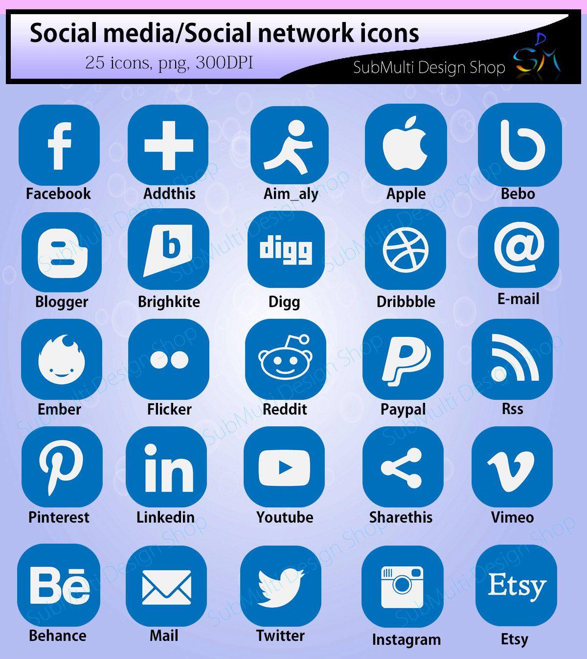 Social media icons / social network icons / icons / web