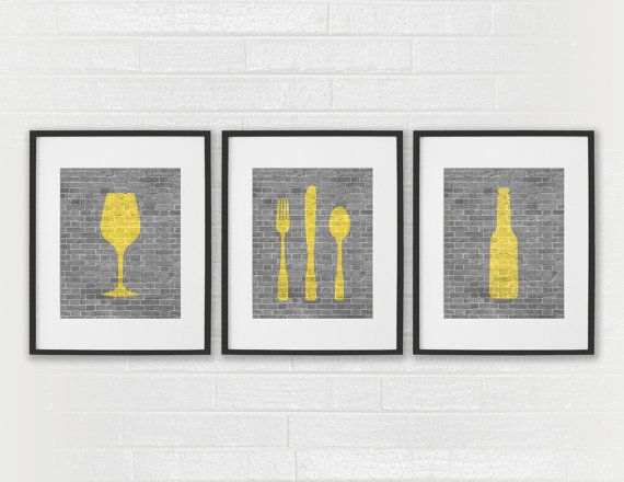 modern kitchen art nutone exhaust fans dining room prints beer wine fork knife spoon set of 3 8x10 or wall decor digital