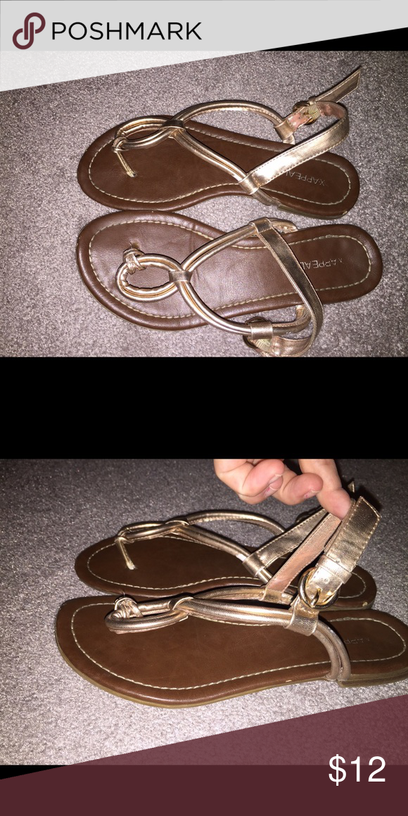 Xappeal Golf Sandals These Gold Xappeal sandals are super comfy! Great color! Light wear! Make an offer! Xappeal Shoes Sandals