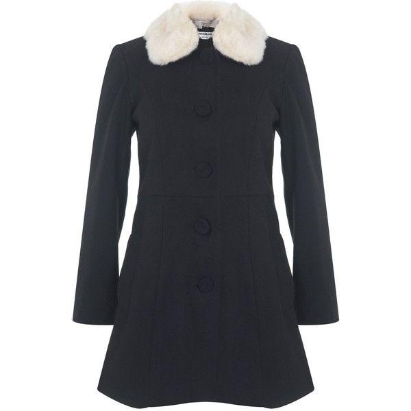 Miss Selfridge Petites Black Fur Collar Coat. (295 PEN) ❤ liked on Polyvore featuring outerwear, coats, black, petite, miss selfridge, petite coats and miss selfridge coats