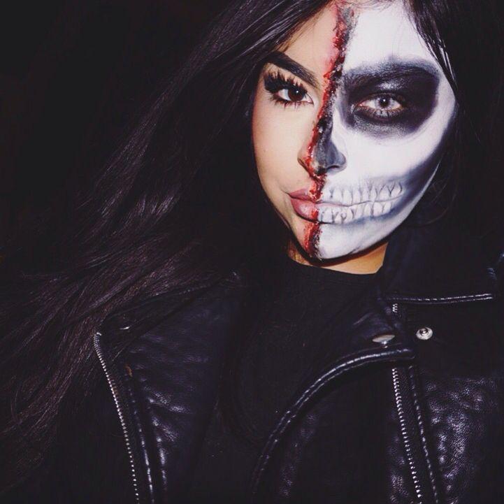 Half Skull Makeup Using Ben Nye Color Wheels Dark Blood Liquid Latex