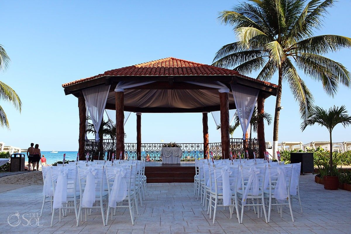 Wedding At The Royal Playa Del Carmen Gazebo By Mexican Caribbean Sea Awaiting Bride And Groom Guests Mexico Photographers Sol