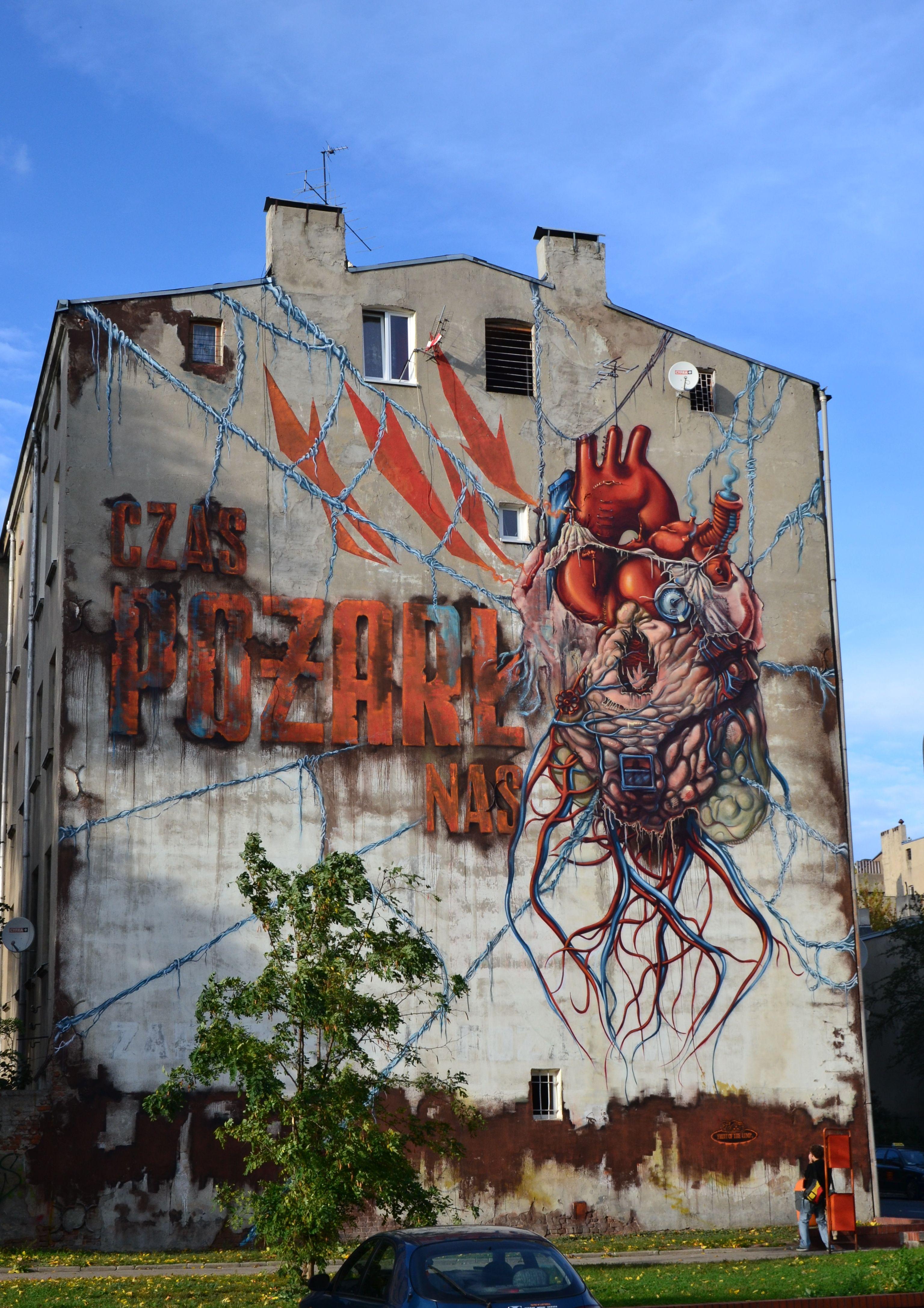 Czas Pozarl Nas By Lump Ul Wolczanska 109 Lodz Mural Wykonany W Ramach Ii Edycji Galerii Miejskiej Urban Forms Street Art Lodz Mural
