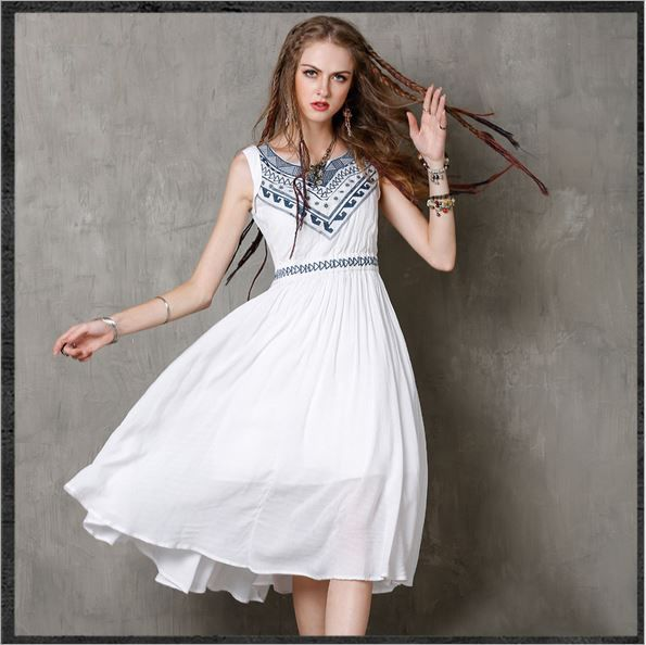 Vintage Embroidered Fashion White Summer Dress Linen Frocks Womens Party  Dresses  Keer  Casual 4460dd4fac5c