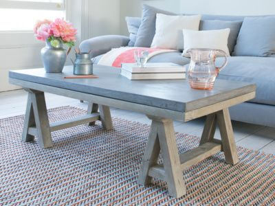 Ace Coffee Table Wood And Concrete Furniture Rustic Glam