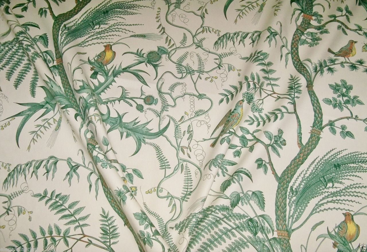 Brunschwig Fils Bird And Thistle Toile Fabric 10 Yards Green Cream Yellow