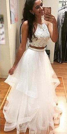 White Tulle Prom Dress,Two Piece Prom Dresses,Sequined Long Prom Dress,White Evening Dress For Teens
