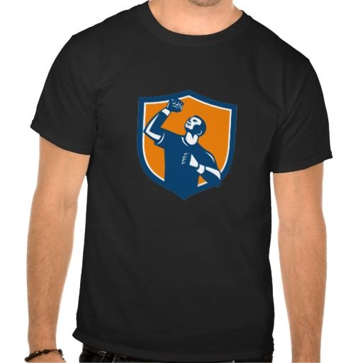 Athlete Fist Pump Crest Retro Shirt. Illustration of a male athlete doing a fist pump looking up viewed from low angle set inside shield crest on isolated background done in retro style. #Illustration #AthleteFistPump